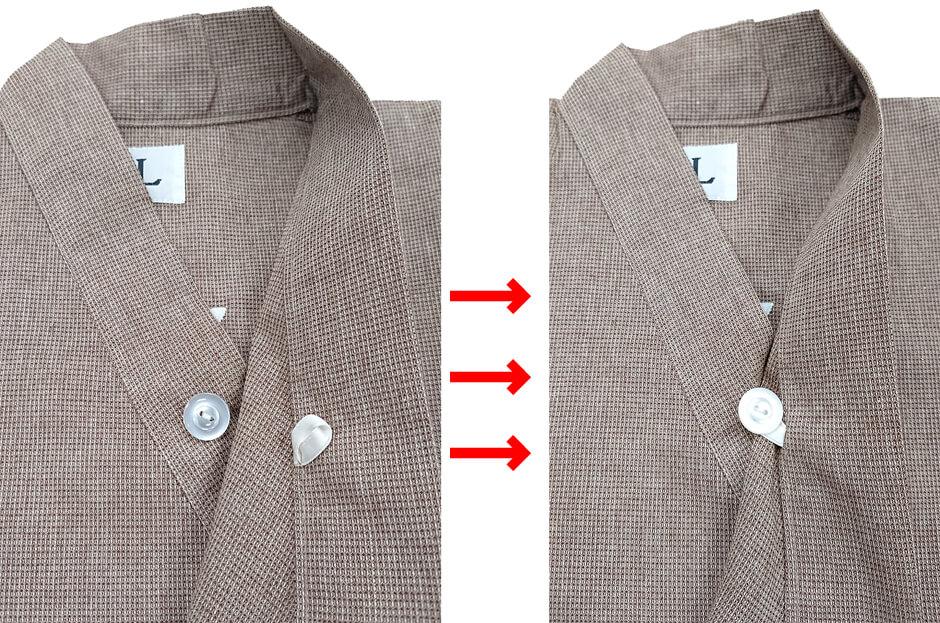 作務衣のはだけ防止加工の写真