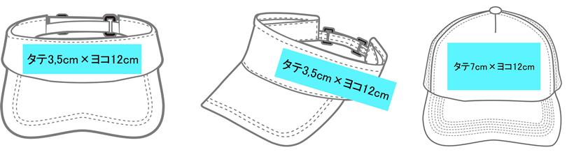 サンバイザー、イベントキャップ(帽子)のプリント位置とサイズ