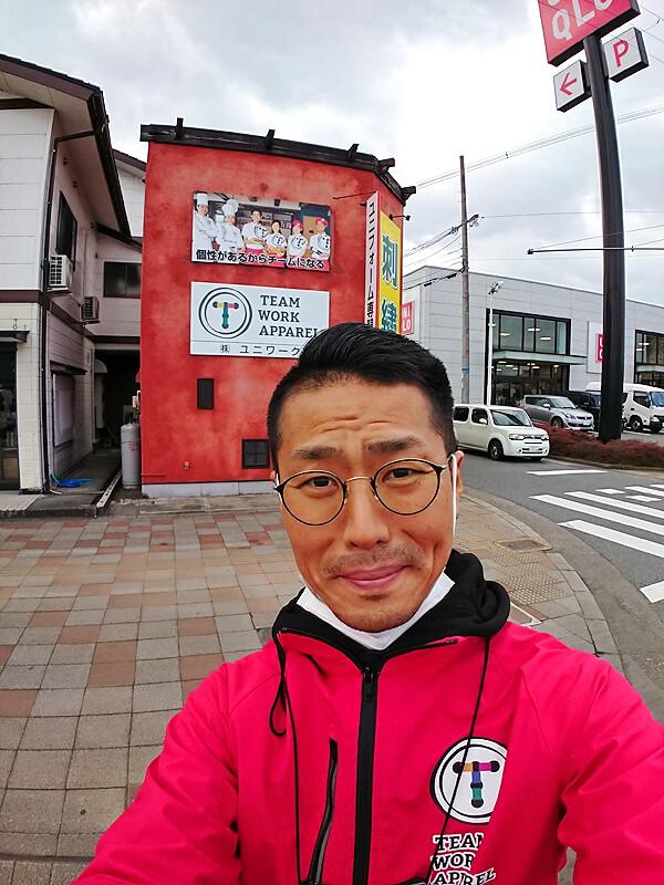 私店長細見と共に自撮りしたチームワークアパレル福知山店の店舗写真