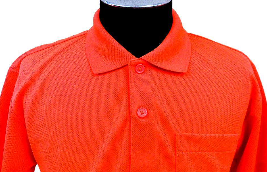 蛍光オレンジの襟元アップ画像(※実際のカラーは明るい蛍光色になります。)