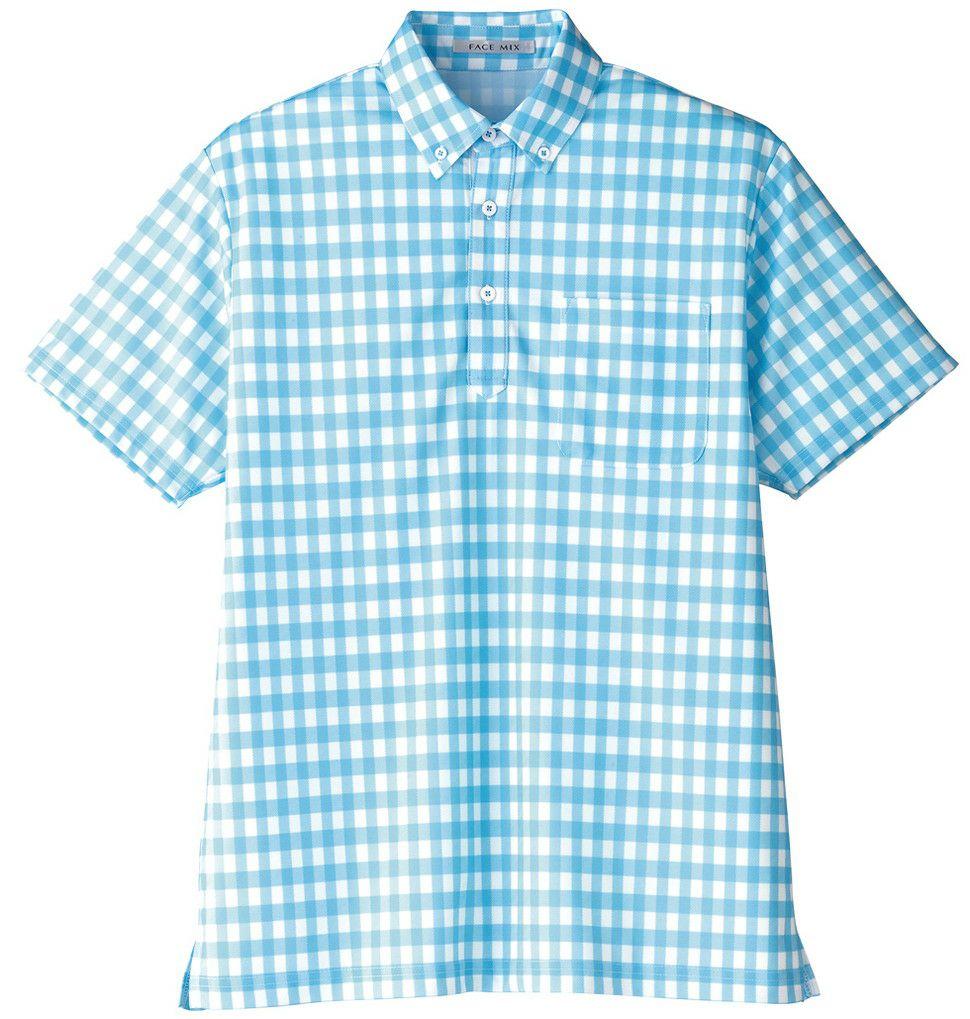 ブルー#7/チェック柄の吸汗速乾かわいいストレッチ半袖ポロシャツ
