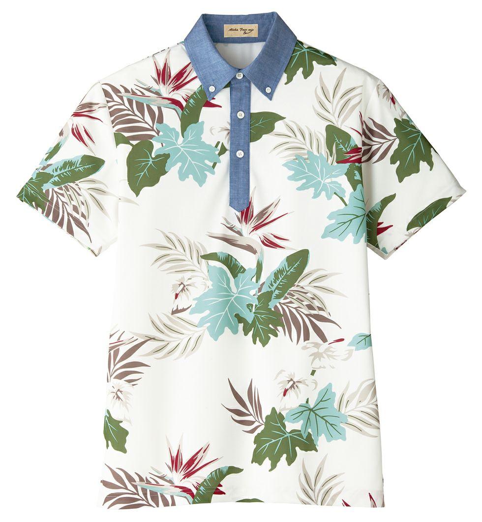 ホワイト#15/アロハ柄のボタンダウン半袖ポロシャツ