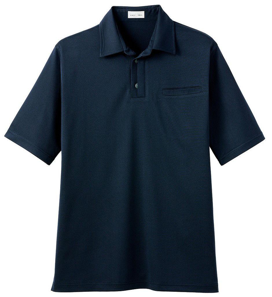 ネイビー#8/左胸ポケット付きの和風な吸汗速乾ドライポロシャツ