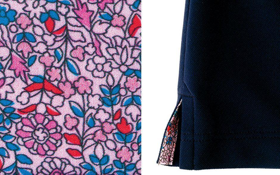 (左画像)内側花柄部分生地アップ画像 (右画像)両脇裾アップ画像