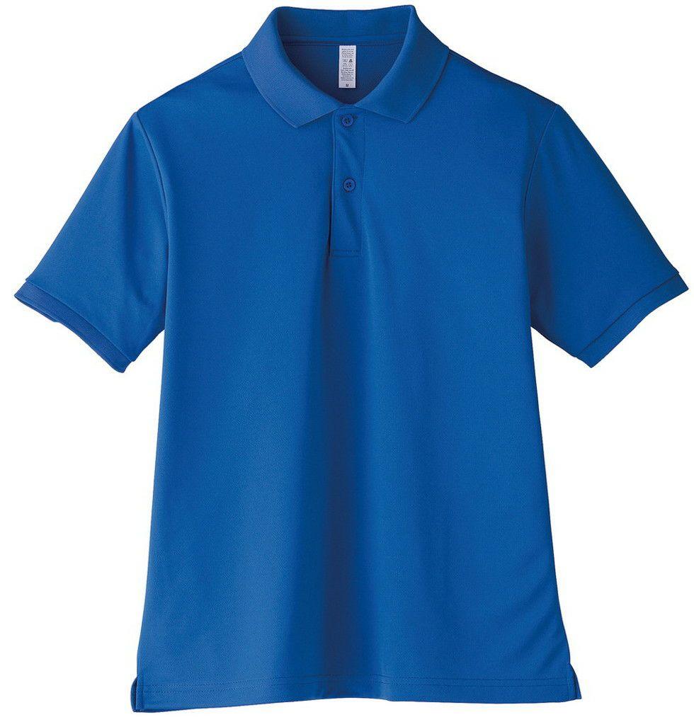 ロイヤルブルー#7/ポリエステル100ポケット無し半袖ドライポロシャツ