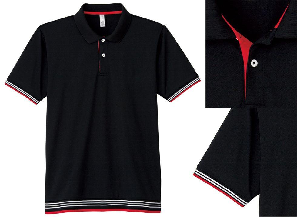 ブラック#16/可愛いライン入りのドライポロシャツ