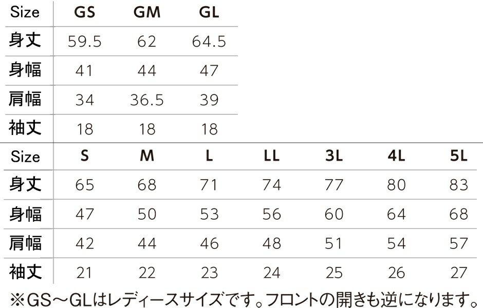 サイズ表/サイズ展開 レディース用S(GS)レディース用M(GM)レディース用L(GL)S/M/L/LL/3L/4L/5L