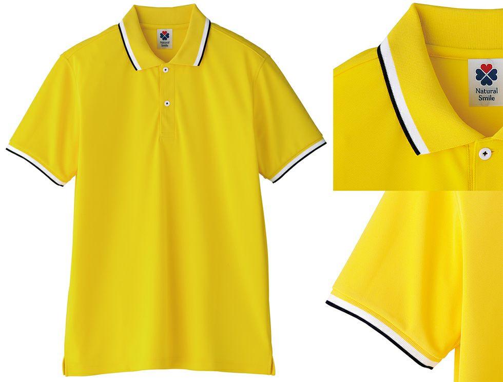 イエロー#10/ライン入りでストレッチ吸汗速乾ドライ半袖ポロシャツ