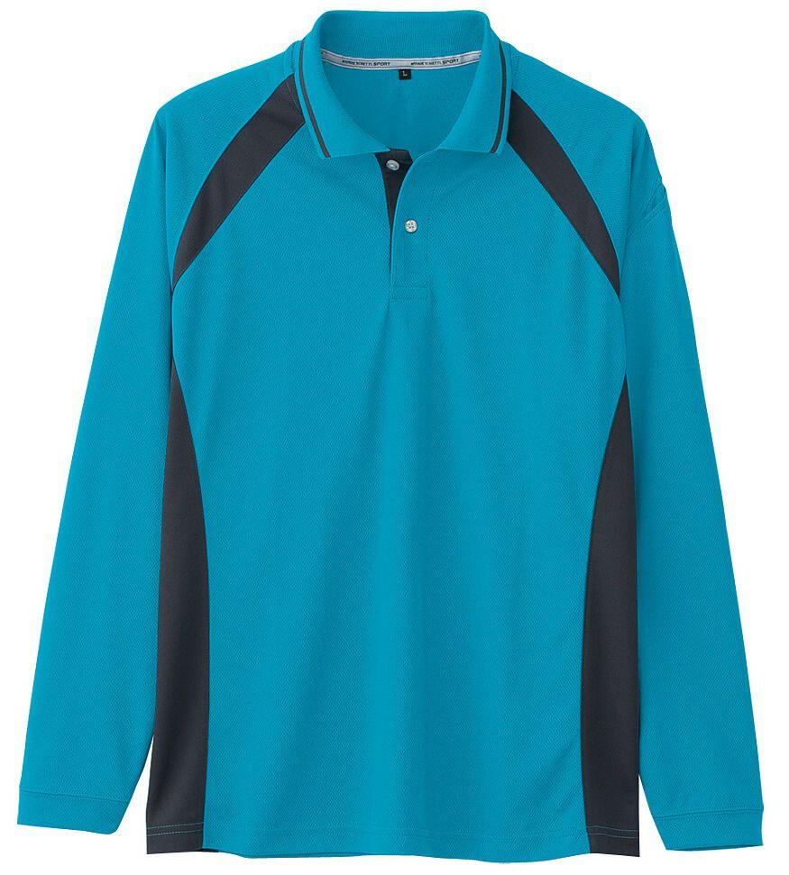 ターコイズ(✕チャコール)#16/臭くならない消臭テープの吸汗速乾ドライ長袖ポロシャツ