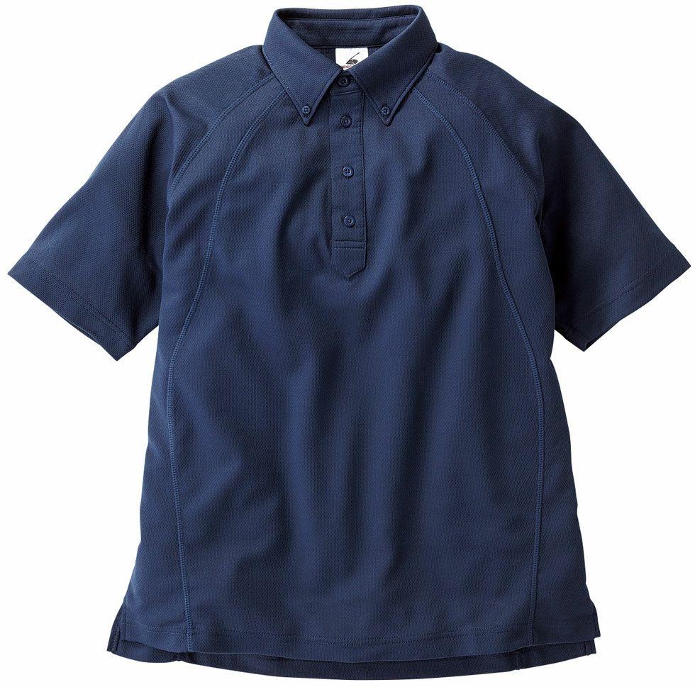 ネイビー#03/スリット入り吸汗速乾半袖ドライボタンダウンポロシャツ