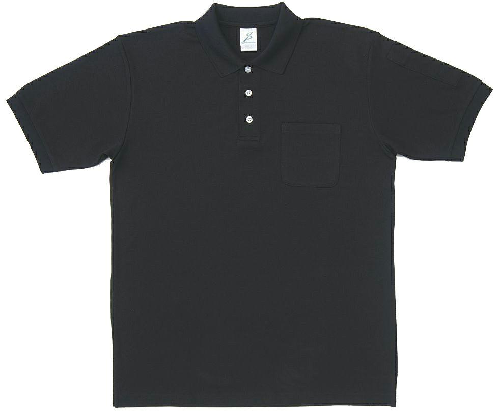 ブラック#011/ポケット付き静電気防止半袖ポロシャツ