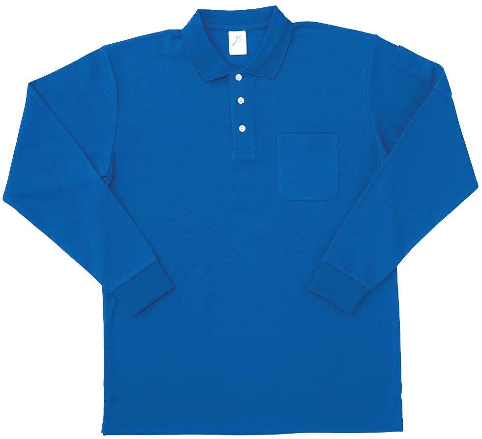 ロイヤルブルー/ポケット付き静電気防止長袖ポロシャツ