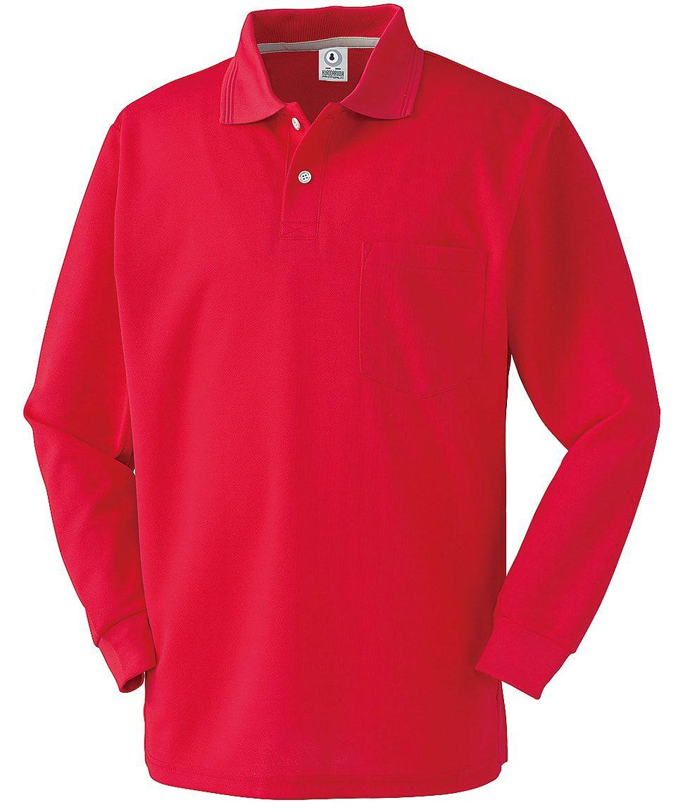 レッド♯40/静電気防止で鹿の子生地の吸汗速乾ドライ長袖ポロシャツ