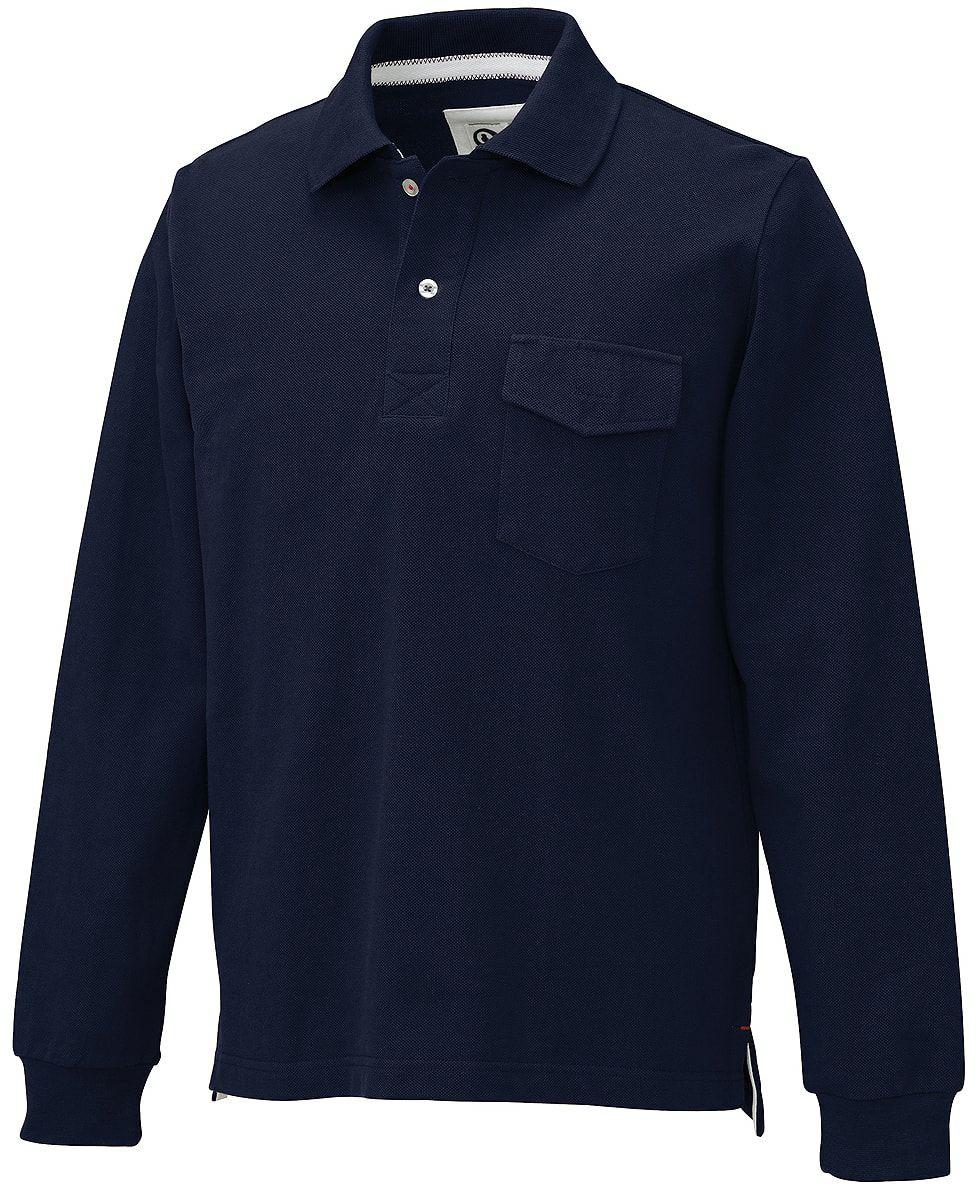 ネイビー♯11/厚手で綿100%の鹿の子長袖ポロシャツ