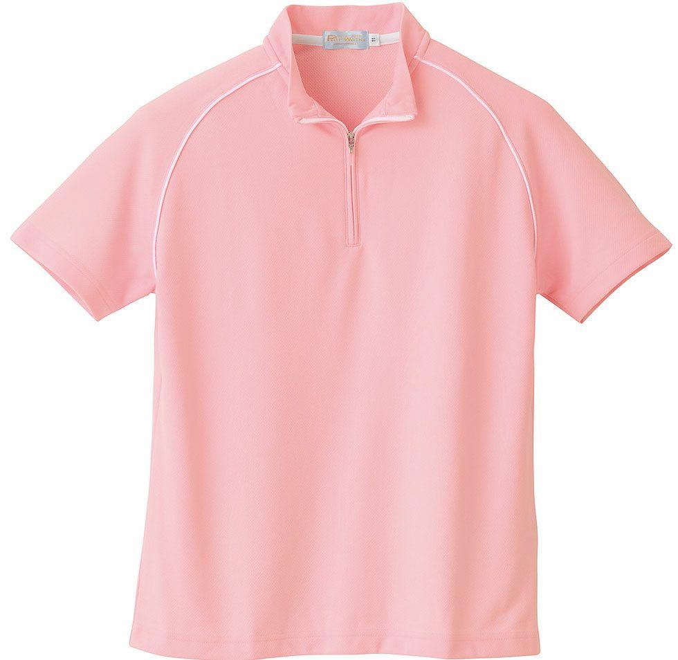 ピンク♯72/ファスナータイプのレディース半袖ドライポロシャツ