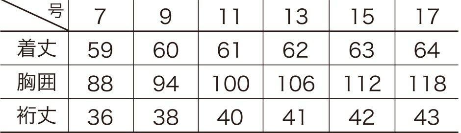 サイズ表/サイズ展開 レディース用/7号/9号/11号/13号/15号/17号