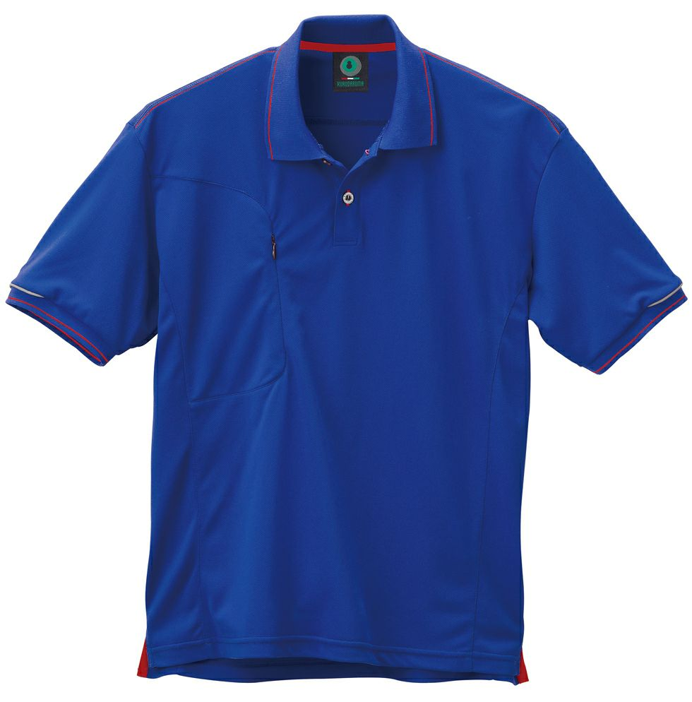 ブルー♯10/ライン入り吸汗速乾ドライ半袖ポロシャツ