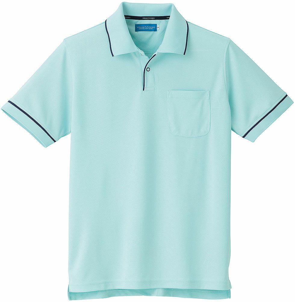 パウダーグリーン♯85/吸汗速乾ポリエステル100%のドライ半袖ポロシャツ