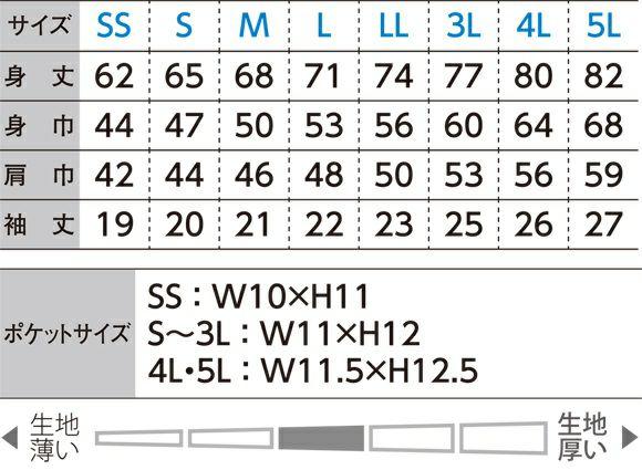 サイズ表/サイズ展開SS/S/M/L/LL/3L/4L/5L
