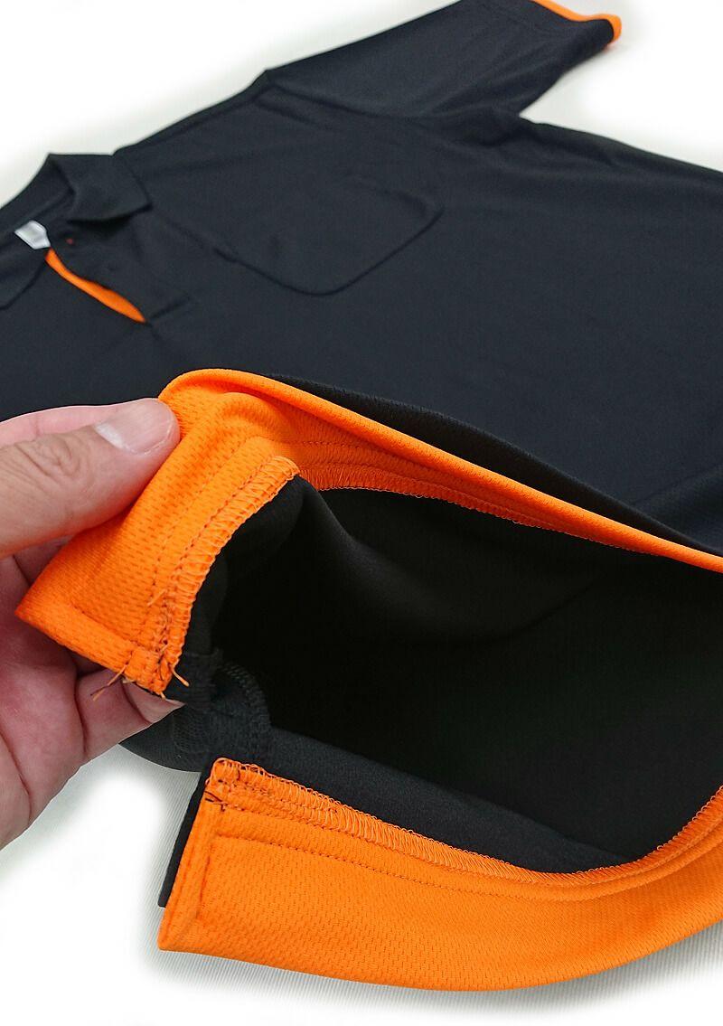 スソ部分の内側に縫い付けたレイヤードカスタム加工の写真です。<br>お店のテーマカラーを採用すれば、より一層自分達らしさの演出ができます。