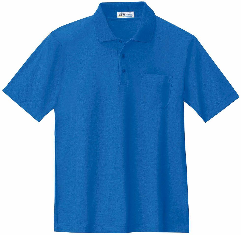 ブルー♯40/臭くならない抗菌防臭で形状記憶の半袖ポロシャツ