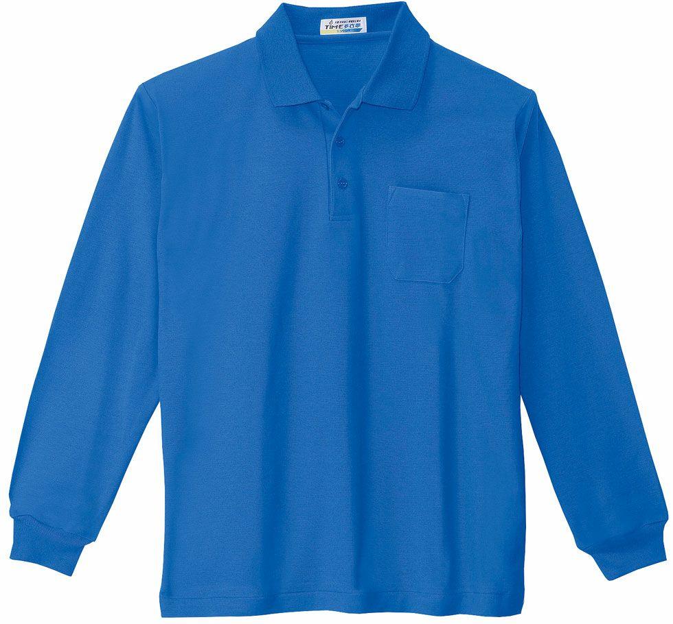 ブルー♯40/鹿の子シワにならない臭くない抗菌防臭で形状記憶の長袖ポロシャツのアップ写真