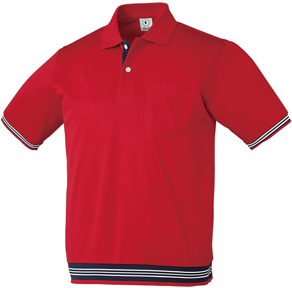 レッド♯70/リブ付きおしゃれな半袖ポロシャツ