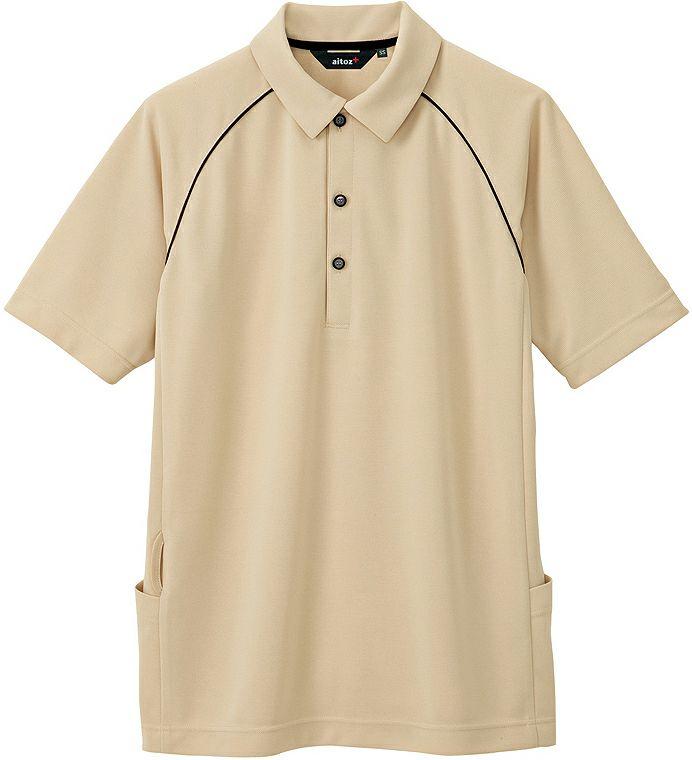 ベージュ#002/バックサイドポケット付き半袖ドライポロシャツ