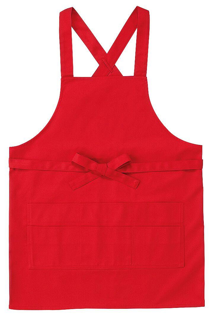 この色はレッド(赤色)#06/人気の飲食店用胸当てカラーエプロン