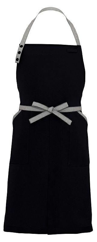 ブラック(黒色)#010/かわいい首かけタイプの胸当てエプロン