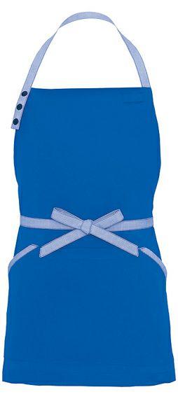 ブルー(青色)#006/かわいいショート丈の胸当てエプロン