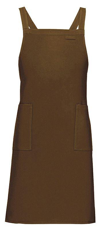 ブラウン#022 / 定番の業務用胸当てエプロン