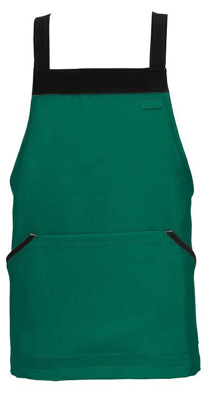 グリーン#015/ 飲食店用のショート丈胸当てエプロン
