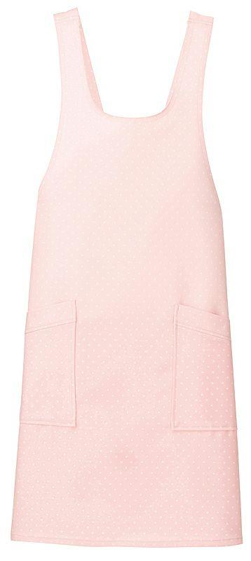 ピンク#060 / かわいいドット柄胸当てエプロン