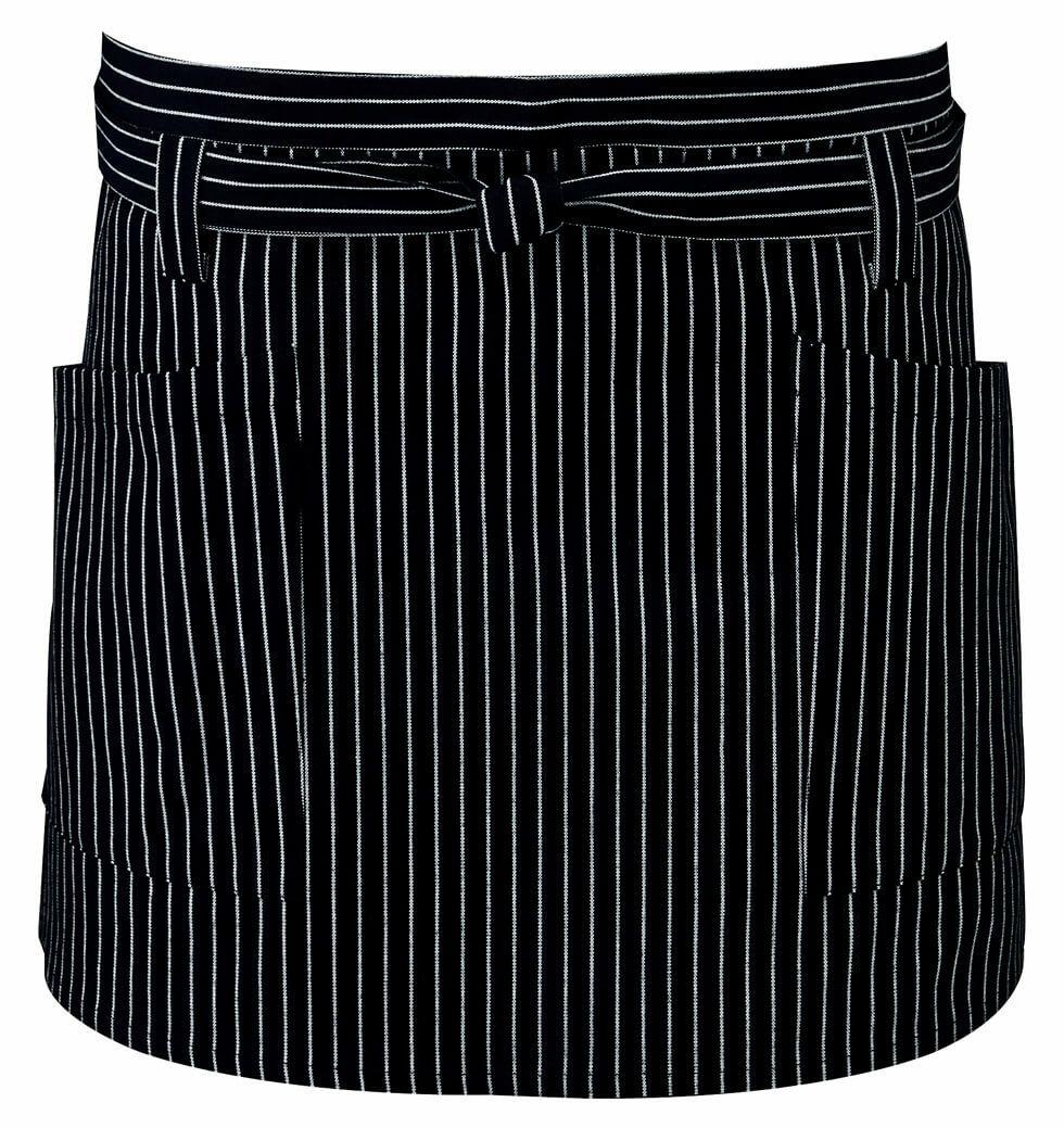 ブラック(黒色)#C10 / ストライプ柄のショートエプロン