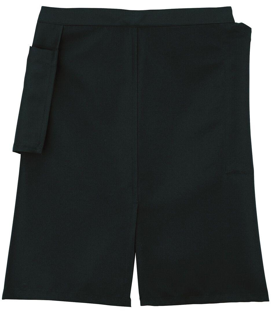 FK7118  【ミドル】ビストロエプロン ブラック/左右にポケット付いています!/右手はタレ式タイプのポケット/左手が入るポケットは普通にポケット付いてます