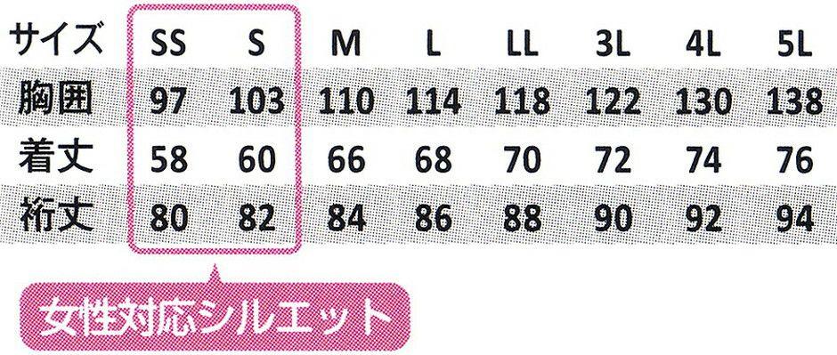 サイズ表/※裄丈(ゆきたけ)は首後ろから袖先までの長さのことです。