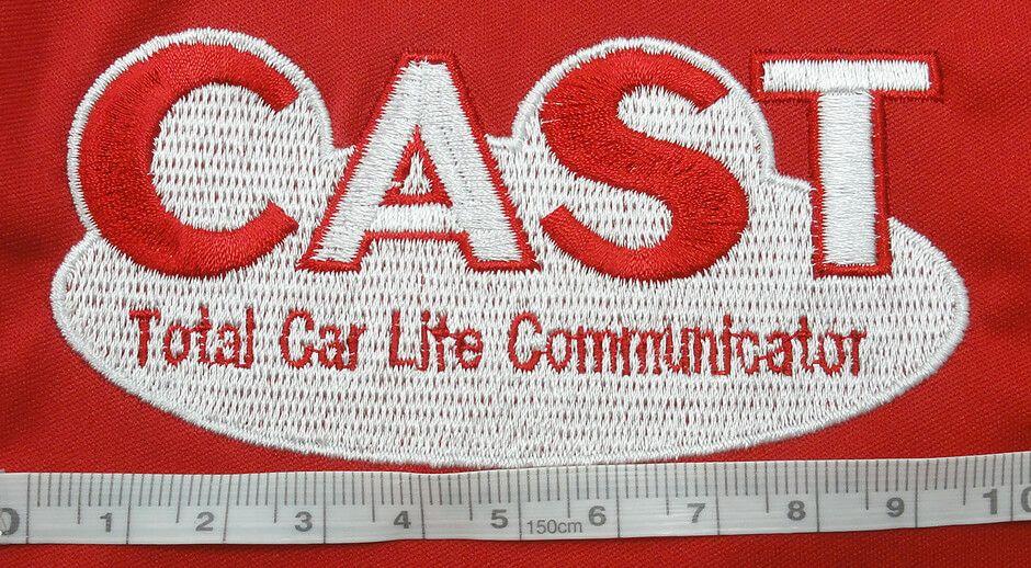 車屋CAST様のロゴ刺繍のアップ写真