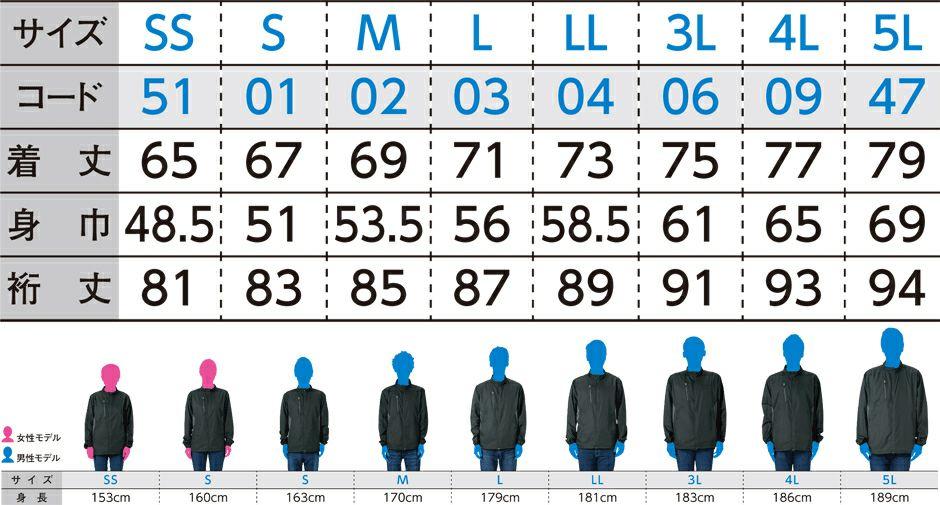 サイズ表/※裄丈(ゆきたけ)は首の後ろから袖先までの長さのこと。