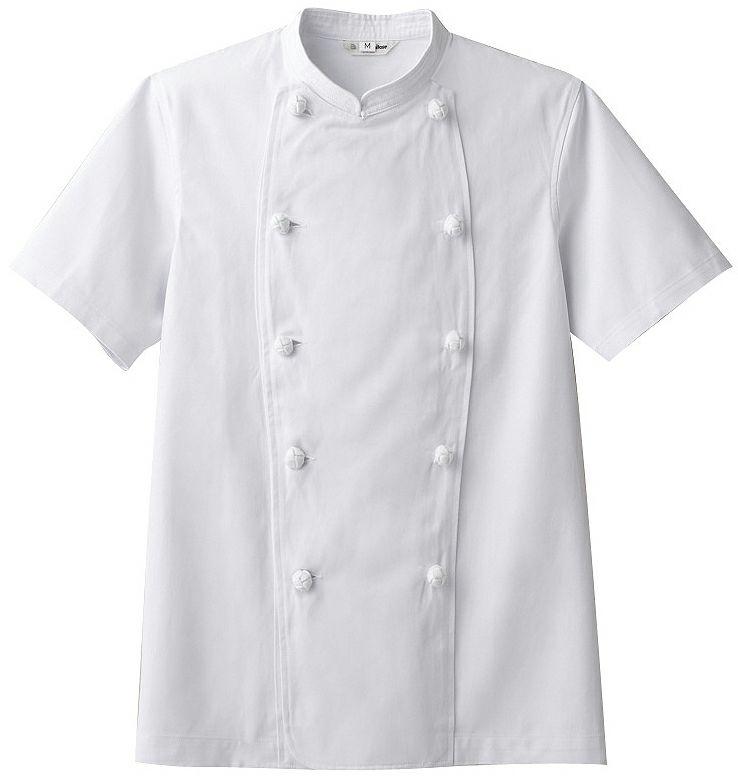 半袖丈コックコート ホワイト#C1