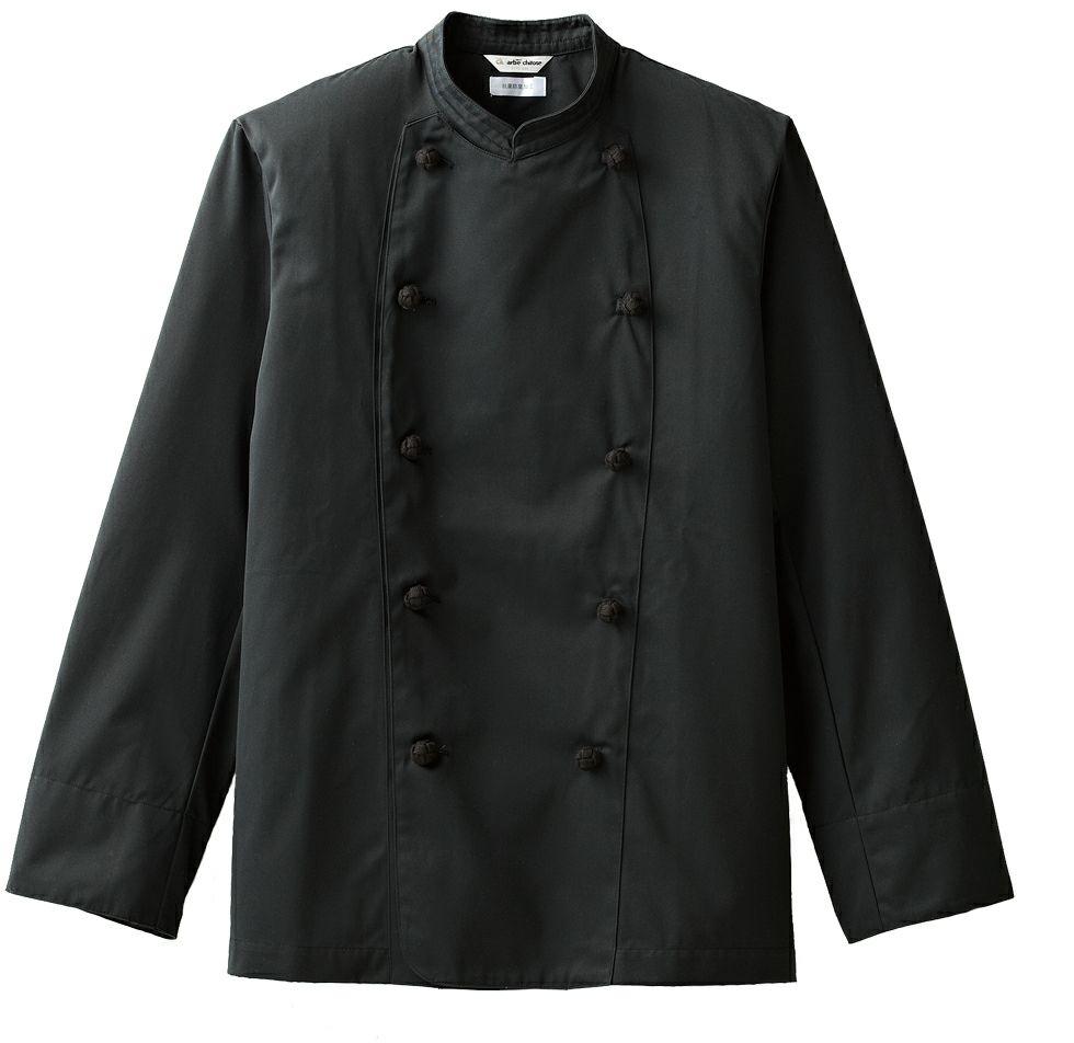 長袖黒コックコートのブラック#C10