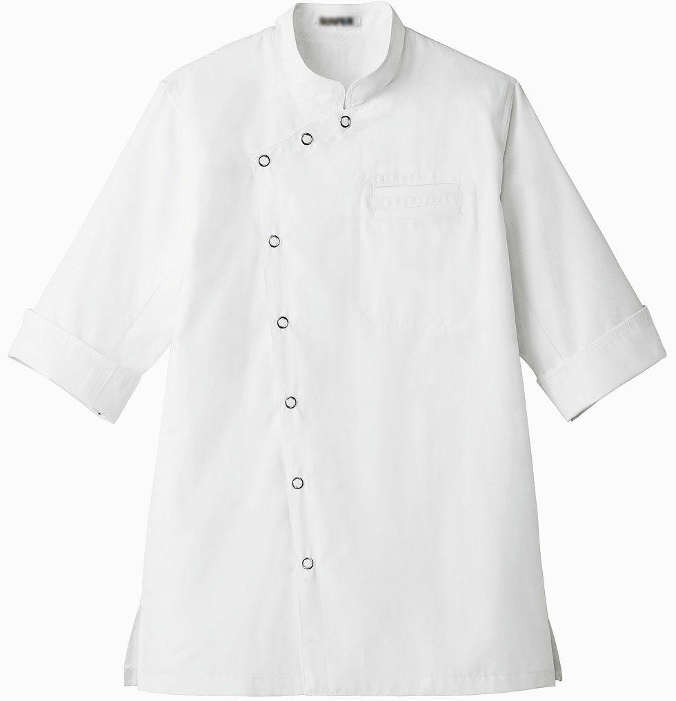 ホワイト/おしゃれな7分袖コックコート