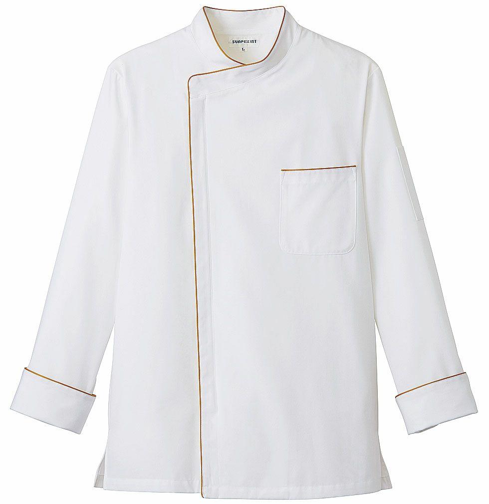 ホワイト×ベージュ/おしゃれな長袖コックコート
