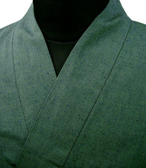 TH11020 作務衣シャツ  #紬グリーン