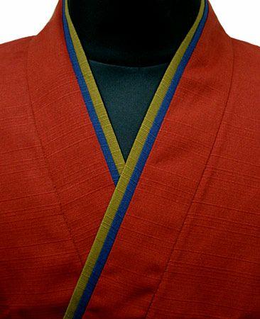 TH11023-04  作務衣シャツ  #エンジ