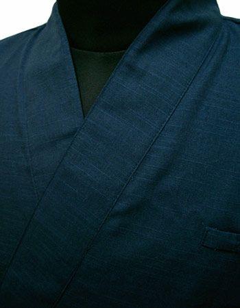 作務衣シャツ #ダークブルー /  ここにかわいいペン差し付き↑↑↑