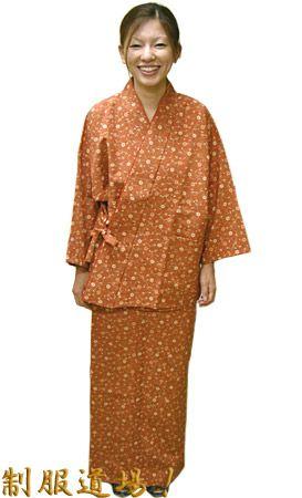 SN11271 作務衣シャツ / SN11272 和風スカート / #花唐草柄・レンガ