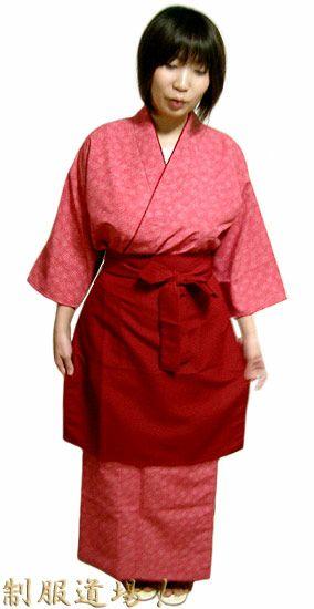KY11088 作務衣シャツ #茜色(赤系) /  KY11090 和風スカート #茜色(赤系) /  KY11014 前掛けエプロン【長】 #エンジ
