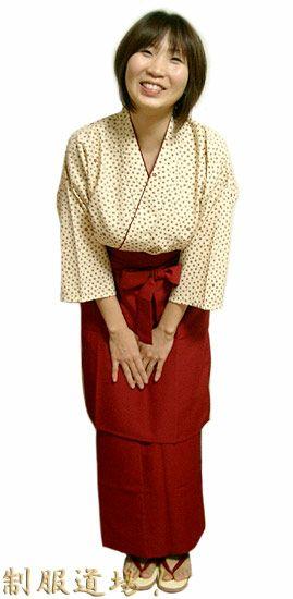 KY11097 作務衣シャツ #姫桜・エンジ色 /  KY11100 和風スカート #エンジ色 /  KY11014 前掛けエプロン【長】 #エンジ色
