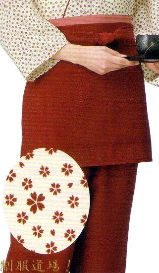 KY11102 作務衣ズボン#エンジ色 /   KY11013 前掛けエプロン【短】#エンジ色